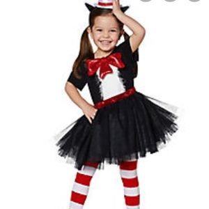 Girls Cat In The Hat Halloween Costume. 2-4T